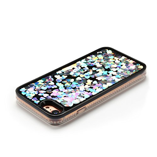 Cover iPhone 7 Custodia iPhone 7 Liquido Anfire Trasparente Rigida Duro Plastica PC Case per Apple iPhone 7 (4.7 Pollici) Sabbie Mobili Shell 3D Bling Glitter Floating Quicksand Copertura Hard Shock S Bianco Cuore