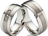 2 alianzas de póster con anillos de compromiso anillos de acero inoxidable y titanio con 3...
