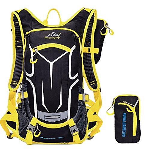 18L Imprägniern einen.Kreislauf.durchmachenrucksack Atmungsaktiver Wanderrucksack Leichter Rucksack für Reise Klettern Radfahren Laufen Camping Im Freiensport-Schulter-Rucksack Hydratation Wasser Tasc Gelb