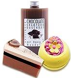 Schokoladen Badezusatz 3 teilig mit Duschbad und Shampoo, Duftseife als Tortenstück und Grapefruit Badebombe