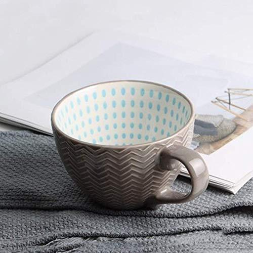 Unbekannt Kreative Persönlichkeit Frühstück Mikrowelle Keramik Tasse Müsli Trinken Milch Milch Kaffeebecher Tasse Rosa Grau 400Ml - Milch Tasse Mikrowelle