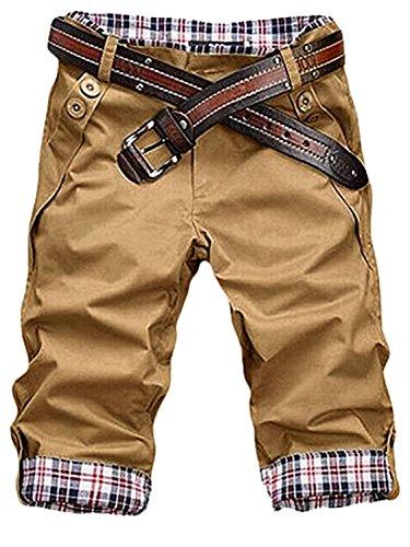 Vintage Chino (HEMOON Herren Bermudas Shorts Vintag Kurze Hose Kariert 1/2 Khaki W30)