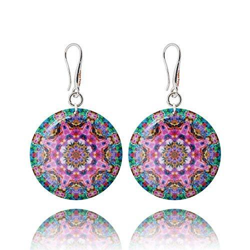 Mandala-Ohrringe in Pink und Meerblau in Geschenkverpackung