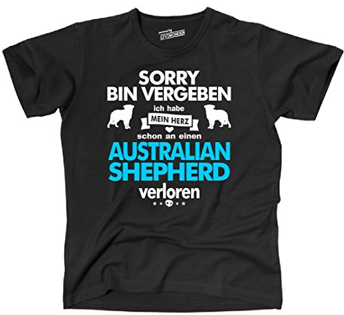 Siviwonder Unisex T-Shirt AUSTRALIAN SHEPHERD Herz verloren Hund Hunde fun black-türkis
