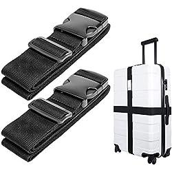Luxebell Sangle de Bagage, Sangles de Transport Suitcase Belt Accessoires de Voyage, 60 x 200cm, 2-Pack (Noir)