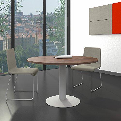 Weber Büro OPTIMA runder Besprechungstisch Ø 120 cm Nussbaum Silbernes Gestell Tisch Esstisch