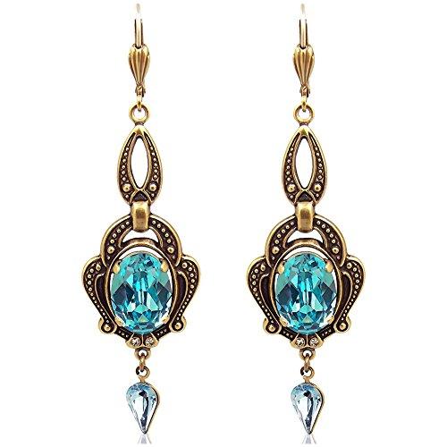 Jugendstil Ohrringe mit Kristallen von Swarovski® Türkis Gold NOBEL SCHMUCK (Türkis Gold Und)