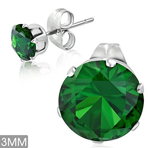 bungsa® Verde Smeraldo cristallo orecchini con zirconi argento rotonda: 3mm-1paio acciaio inox (-Orecchini pendenti con ganci auricolari uomo donne donna mode Studs Earrings)
