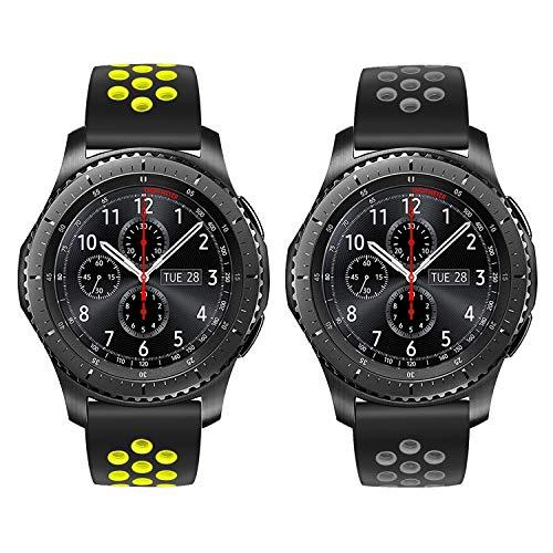 TRUMiRR Armband kompatibel mit Galaxy Watch 46mm/Gear S3 Classic/Frontier Armband, 22mm Silikon Gummi Armband Quick Release Uhrenarmband Sport Ersatzband
