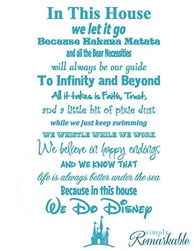 Simply Remarkable In This House We Do Disney-Vinyl Wand Aufkleber Aufkleber-Made in USA-Disney Family House Rules