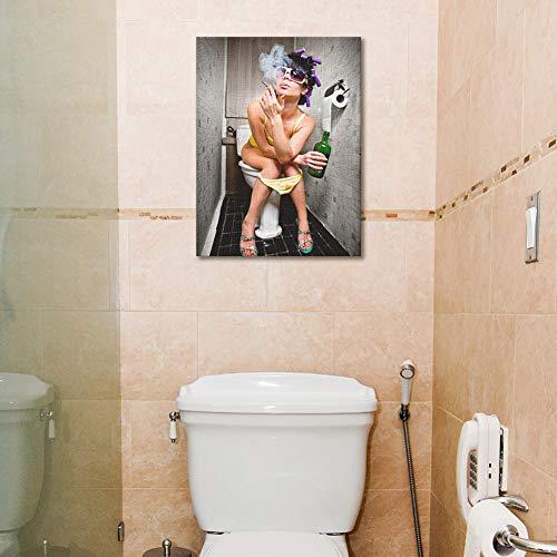 Kinyne toilette di moda donna sexy quadro su tela moderno moderna ragazza bar fumatori e bevitori in bagno dipinto poster per camera da letto decorazione della parete dell'hotel,a,50x60cm