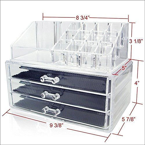 House of Quirk Acrylic Cosmetic Organizer With 3 Drawers For Jewelry Slots-9 Slots