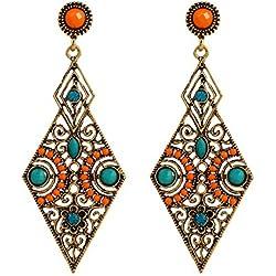 lureme® Vendimia Antique Oro Hollow Diamante Forma naranja and Verde Beads Stud Aretes(02005171)