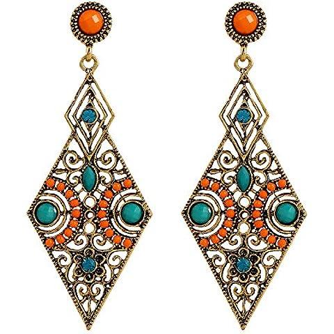 lureme® Annata Antique Oro Hollow Diamante Forma arancione and verde Beads Stud Orecchini(02005171)