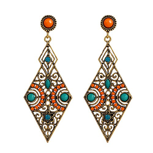 luremer-vintage-antique-or-hollow-diamant-forme-orange-and-vert-beads-stud-boucles-doreilles02005171