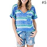BOLAWOO T-Shirt Damen Blaue Streifen Baumwollmischung Dchen V-Ausschnitt Kurzarm Oberte