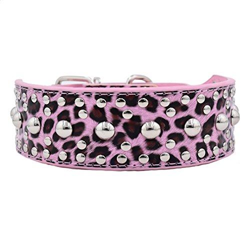 Generisches Hundehalsband Halsbänder aus PU oder Echt Leder wählbar mit Pilz Nieten 5cm Breit L XL XXL XXXL für große Hunde Hunter, Pink Leopard Echtleder XXL (Hundehalsband Leopard)