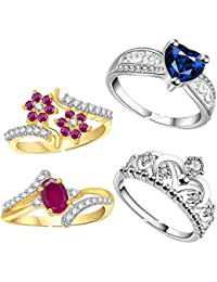 American Cz Diamond Combo Of Four Gold & Silver Plated Adjustable Finger Rings For Girls/Women/Ladies By Lady...