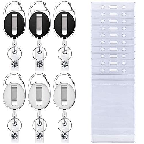 6 x einziehbare Ausweishalter mit 10 x wasserfesten, transparenten Kartenhaltern, SENHI Karabiner Gürtelclip Spaltring und vertikaler Stil, durchsichtige Ausweishalter -