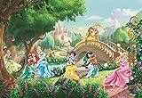 Disney Fototapete PRINCESS PALACE PETS, 368x254cm, 8-teilig, Prinzessinnen mit Tieren im Schlossgarten