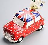 Spardose AUTO Mini. Keramik. Flagge Großbritannien. Reisekasse, Urlaubskasse, Sparschwein