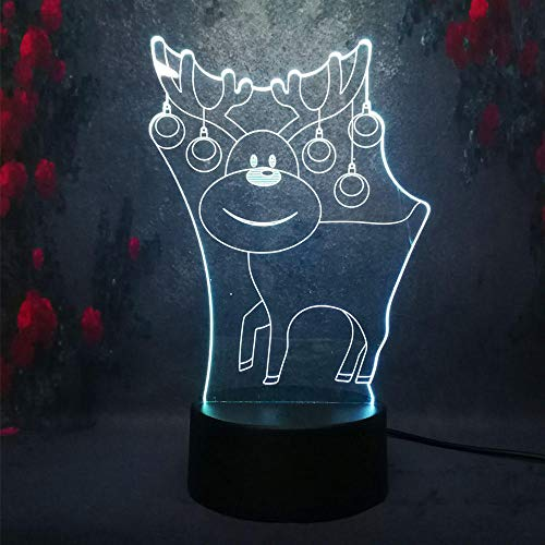 Nachtlicht Illusion 3D 3D Night Light 7 Color New Year Christmas Home Bedroom Decoration Kids Gift Cute Cartoon Elk No Brand