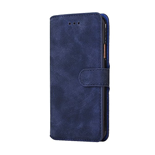 iPhone X Hülle, Valenth Retro Muster Brieftasche Leder Cover mit ID Card Slots [Stand Feature] für iPhone X Blau
