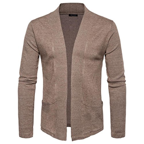 Herren Mantel,Honestyi Männer Herbst Winter Pullover Cardigan stricken Strickjacke Sweatshirt Mantel (M, Kaffee)