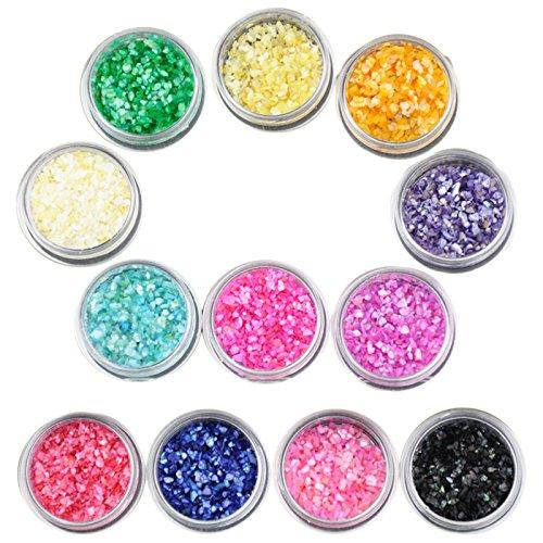 Beauties Factory 12x Crushed Shell Chips Nail Art Irregular Shape Glitter UV Gel Acrylic by Beauties Factory