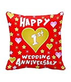 Tied Ribbons 1st Wedding Anniversary Gift Printed Cushion (12 inch X 12 inch) with Filler