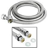 Incutex tuyau de douche ½ pouce flexible de douche en acier inoxydable, 2 mètres