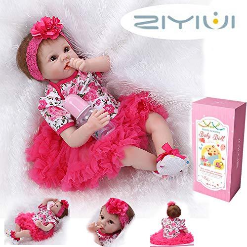 ZIYIUI 22 Pouces 55 cm Corps Doux Reborn Baby Doll Vinyle Souple en Silicone Fait Main