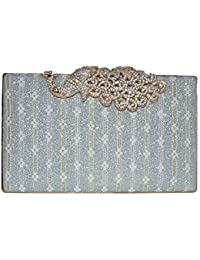 Latest Stylish Fancy Women Silver Clutch Black Clutch/sling Bag Party Wear Women Ladies Purse,party Clutches For...