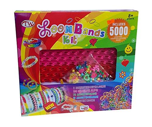 5000 Teile XXL Loom Starter Kit Set Bänder Bandz Gummibänder mit Charms Perlen Anhänger Webrahmen Haken S-Clips NEU