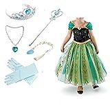 Canberries® Prinzessin Kostüm Kinder Glanz Kleid Mädchen Weihnachten Verkleidung Karneval Party Halloween Fest Set aus Diadem, Handschuhe, Zauberstab,Zopf,Halskette (130, #07 Kleid und Zubehör)
