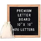 StillCool Letter Board Letterboard Buchstabenbretter aus Holz und Filz Letter Tafel Buchstabenbrett Rillentafel 10 * 10Zoll(Schwarze Tafel + 435 weißer Buchstabe)