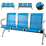 Cueffer 3 Sillas de Sala de Espera Bancada para Sala de Espera de Cuero PU Banco de Espera para Oficina, Playa, Barbería, Salón, Aeropuerto, Hospital, Mercado Waiting Room Chairs (Azul)