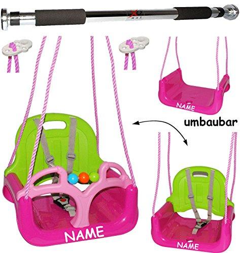 alles-meine.de GmbH 2 TLG. Set _ Türreck + mitwachsende - Babyschaukel / Gitterschaukel mit Gurt -  ROSA / PINK  - incl. Name - Leichter Einstieg ! - mitwachsend & verstellbar ..
