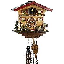 Orologio cucù al quarzo in vero legno stile Foresta Nera, funzionamento a pile, con carillon musicale, musicisti 21 cm