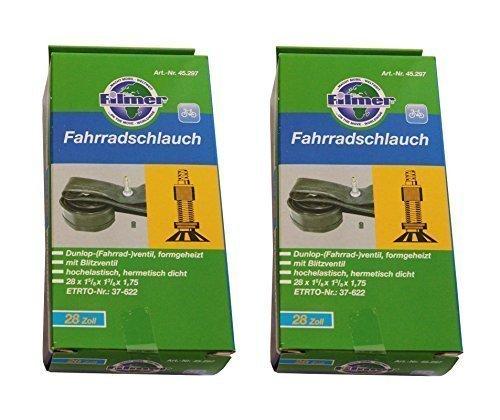 2 x Fahrradschlauch 28 x 1 5/8 x 1 3/8 x 1,75 Dunlop-(Fahrrad-)ventil, 37-622 ...