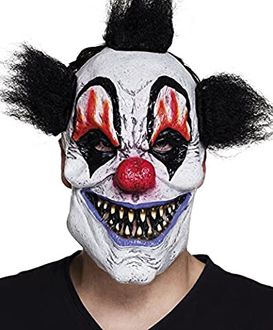Fancy Ole - Halloween Kostüm Horror Latex Maske mit Haaren Psycho Clown, Mehrfarbig