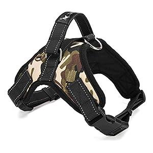 Hundegeschirr gepolstert Brustgurt Heavy Duty mit Griff Hund Training Walking Brustgurt Camouflage/Schwarz M/L