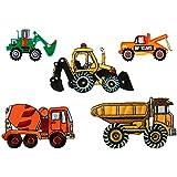 Mono-Quick 312 Aufbügelbilder Baufahrzeuge Set, 5 teilig, Baufahrzeugmotive, 5,5 x 2,5 cm, bis 8,5 x 5,3 cm, Polyester, Stickerei aus Viskosegarn