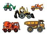 Mono-Quick Aufbügelbild, Bügelbild, Aufnäher, Patch, Applikation, Bagger, LKW Baufahrzeuge Set, 5 teilig, Baufahrzeugmotive, 5, x 2, 5 cm, bis 8, 5 x 5, 3 cm, Polyester, Stickerei aus Viskosegarn