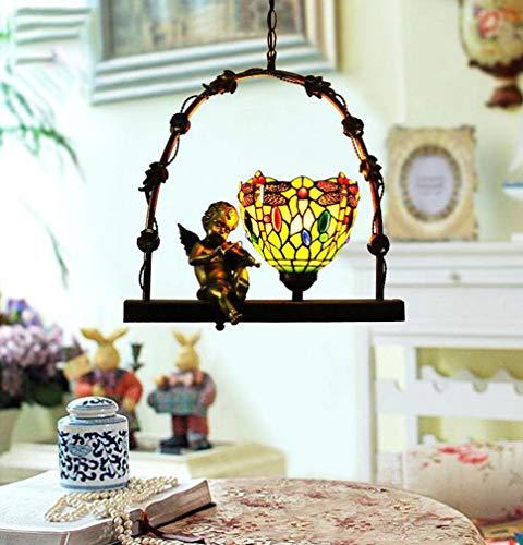 Tiffany Stil Mini Single Head Anhänger Beleuchtung Libelle für Flur Gang Kirche, Vintage Farbe Art Glasschirm Engel Pendent Lampe Legierung Lampenkörper, E27 × 1 - Tiffany Mini Anhänger Lampe