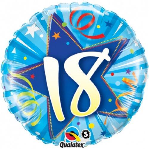 Ballon chiffre 18 anniversaire bleu clair Ballon Taille 18 (45 cm) Non gonflé