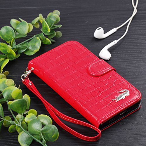 iPhone X Cover Custodia, iPhone X Custodia Pelle, JAWSEU iPhone X Protezione Creativo Diamante Gufo Libro Disegno Wallet Pouch Leather Flip Case Cover Custodia per iPhone X Cover Copertura con Super S Coccodrillo Rosso