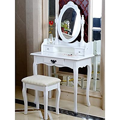 Elegant White Dressing Table, Oval Mirror & Stool Set (3 Drawer) Bedroom Dresser Makeup Desk Vanity Table