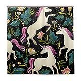 BALII Magic Einhorn in Jungle Duschvorhang 182,9x 182,9cm Polyester Wasserdicht mit 12Haken für Badezimmer