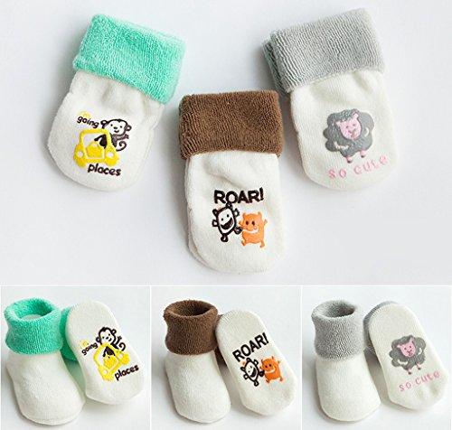 Smile YKK 3 Paires Chausettes Bébé Unisexe Cartoon Soft Antidérapant Epaissir de Chaud Mouton garçon